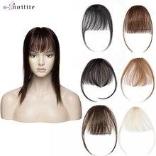 S-noilite тонкий маленький человек воздух волосы челка с дужками реми волосы зажим в человеческий волосы наращивание бахрома шиньон для женщин