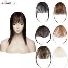 S-noilite Thin Small Human Air Hair Bangs with Temples Remy Hair Clip in Human Hair Extensions Fringe Hairpiece for Women