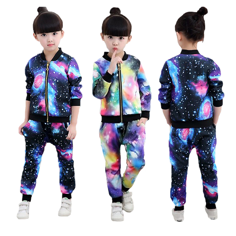 Girls Clothing Sets Full Printed Starry Sky pattern Sweatshirt Coat And Pant 2Pcs Set For Girls Kids Clothing Autumn Sports Suit