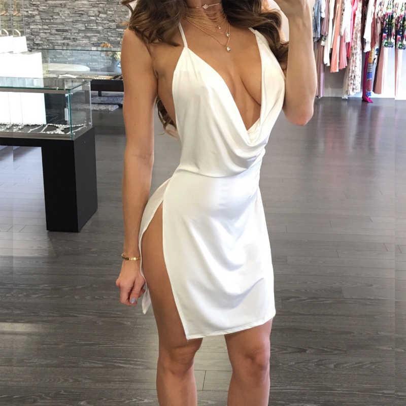 Gecelik seksi porno iç çamaşırı Backless Halter kadın gecelik elbise yan açık derin v yaka pijama Mini gece elbisesi seksi kıyafeti