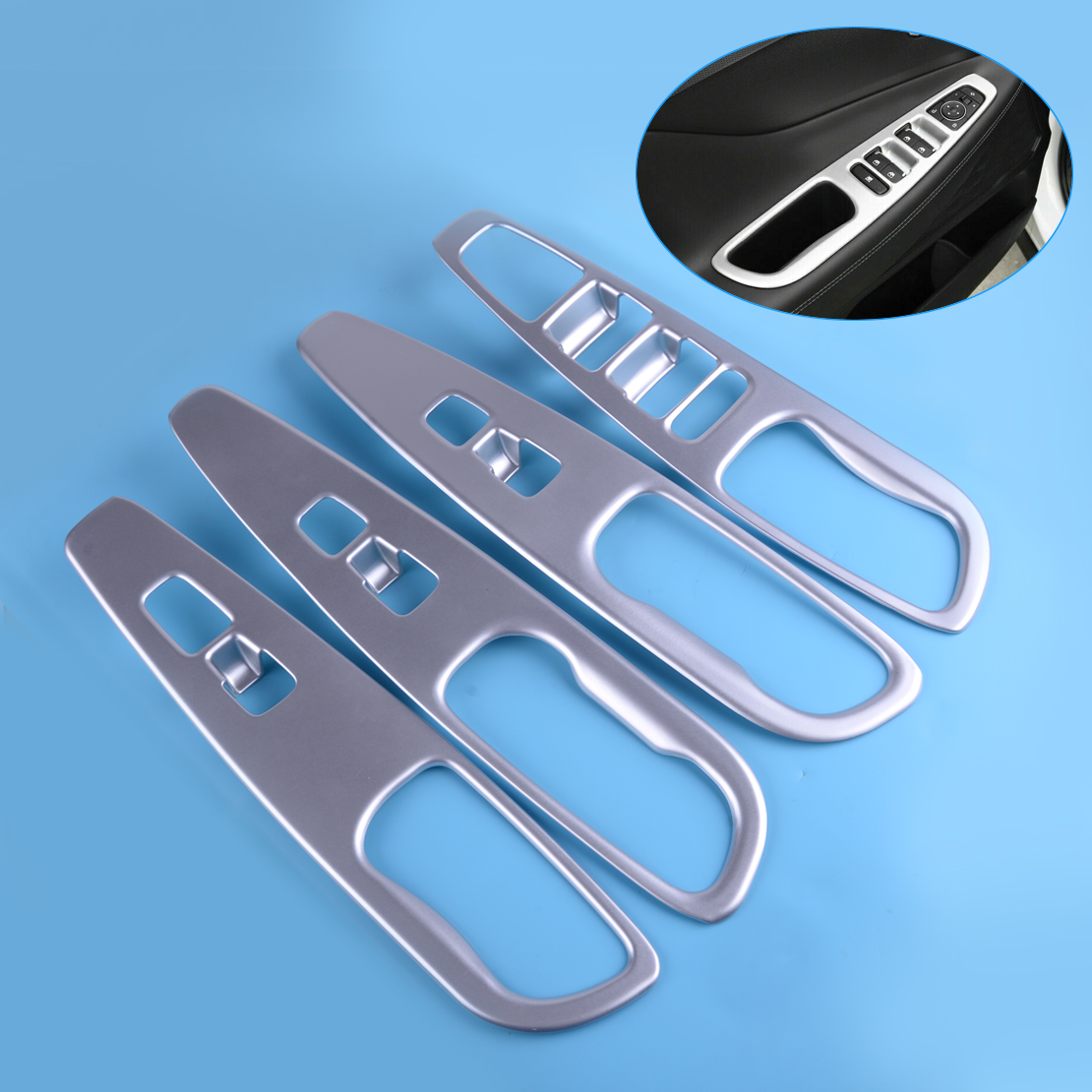 beler ABS 4PCS Silver Door Armrest Window Switch Cover Trim Panel Fit for <font><b>Hyundai</b></font> <font><b>Santa</b></font> <font><b>Fe</b></font> <font><b>2019</b></font> image