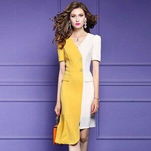 Image 2 - משרד ליידי קיץ שמלת 2019 חדש באיכות מעולה נשים סקסי טלאים המפלגה שמלה בתוספת גודל קצר שרוול סימטרי שמלות