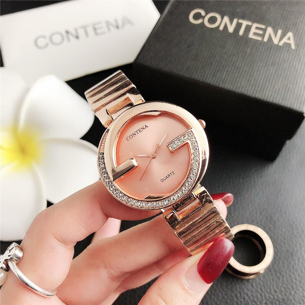 SET  7096      Contena Trend Full Diamond Small Watch Womenfashion Ladies Watches