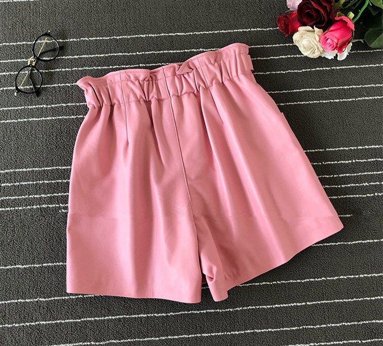 Europe Style Women's High Quality Real Leather Wide-leg Shorts 2019 Autumn Women High-waist Leather Short Trousers A862