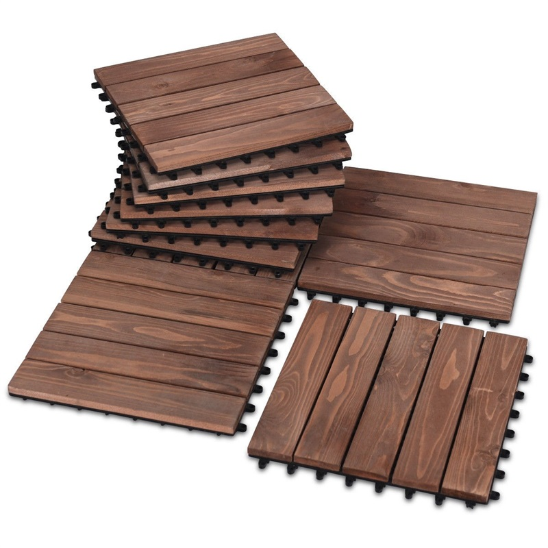 11 Pcs 12 X 12 Patio High Quality Fir Wood Pavers Interlocking Decking Flooring Anti-mold Anti-fungus Easily Assemble HW60351 image