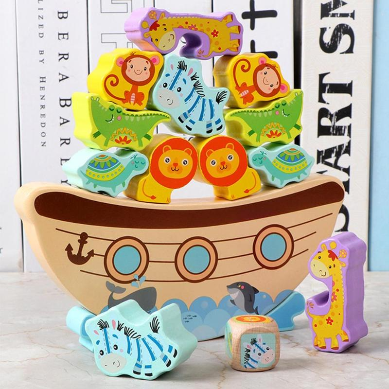 Wooden Building Blocks Bitable Paint Baby Stacking Balance Game Boat Wave Base Animal Children Baby Education Toy