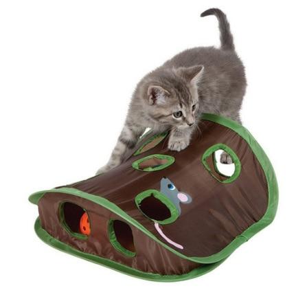 Juego de ratones de Gato para mascotas, tienda de campaña con campana de juguete de inteligencia con 9 agujeros, túnel de juego para gatos, ratón abatible, juguetes para mantener a los gatitos activos