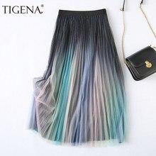 TIGENA Beautiful Gradient Color Tulle Skirt Women Fashion 2021 Spring Summer Korean A Line High Waist Pleated Skirt Female