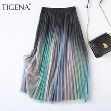 TIGENA Beautiful Gradient Tulle Long Skirt Women Fashion 2021 Spring Summer Korean A Line High Waist Pleated Skirt Female Lady