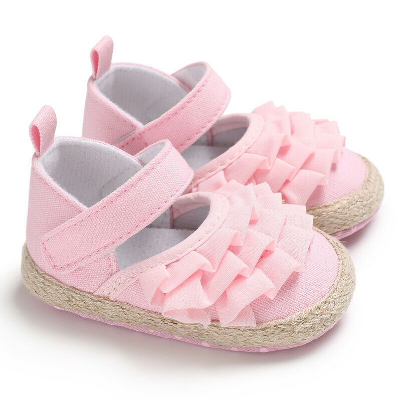 Cute Infant Newborn Baby Girl Shoes Solid Ruffled Princess Casual Shoes Non-slip Soft Sole Shoes
