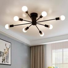 Lámpara de techo de hierro forjado de tubo de luz de techo Led nórdico para el dormitorio de casa, sala de estar, restaurante, comedor, café E27