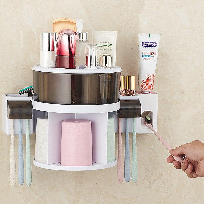 360 ° Rotation porte-brosse à dents distributeur de dentifrice automatique mural accessoires de salle de bain Set Rack de stockage cosmétique