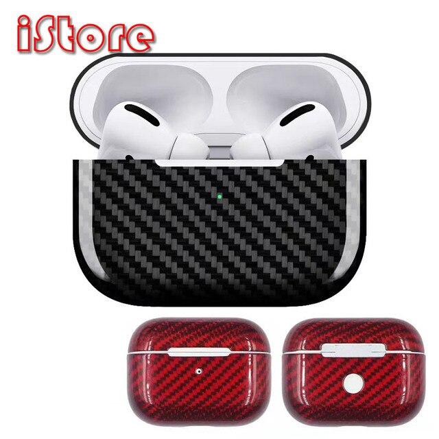 Capa protetora de fibra de carbono Para Apple AirPods pro Fone de ouvido sem fio Bluetooth de carregamento Capa protetora Material de fibra de carbono