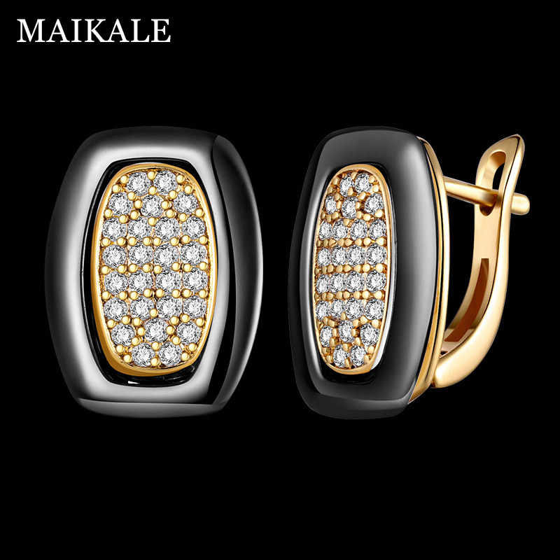MAIKALE Classic Square Ceramic Stud Earrings Copper Gold Silver Color Black White Simple Earrings For Women To Send Friend Gifts
