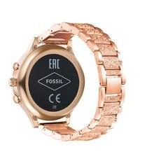 สำหรับ Fossil Q Venture Gen3/Gen4 HR/TicWatch C2 นาฬิกา 18 มม.โลหะผสมโลหะ Bling คริสตัล Bling คริสตัลสายรัดข้อมือ