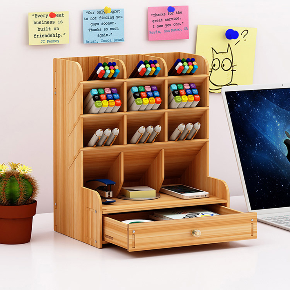 2020 New Hand Account Tape Box Tape Children's Wooden Pen Storage Multi-functional Tape Chinese Drawer Study Storage Box