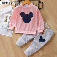 Urso líder do bebê meninas roupas casuais primavera conjuntos de roupas de bebê dos desenhos animados impressão camisolas + calças casuais 2 pcs para roupas de bebê