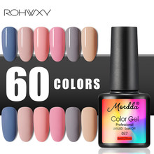 Rohwxy 8ml unha gel polonês para manicure 60 cores uv unha gel polonês para unha arte pintura gel verniz para unhas diy design