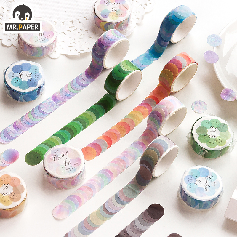 Mr.Paper 14*14mm Hard Candy Dot Color Washi Journaling Writing Memory Washi Tape Deco Gift Label Ins Masking Tapes Easy to Tear 1