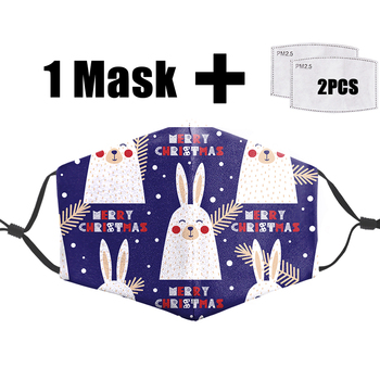 Cute Bunny Unisex Washable Anti Dust Proof Flu Mask Face Funny Print 3D Masks Pm2.5 Filter Reusable Warm Mouth-Muffle
