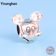 Younghao Jewelry Plata de ley 925 Silver Mickey Beads For Jewelry Fit Original Pandora Charm Bracelets Cartoon Characters Kralen(China)
