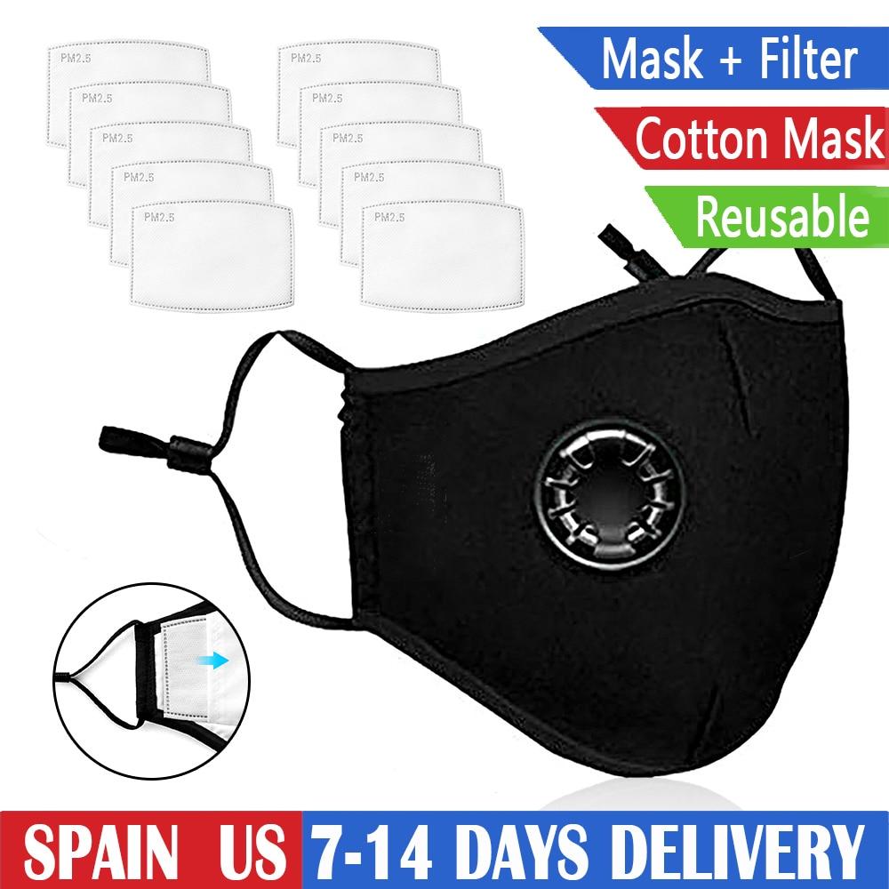 Respirator Cotton Mask Breathing Filter Valves Protective Masks PM2.5 Dust Mark Black Mask With 10 Filter Reusable Washable