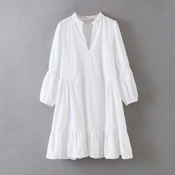 KUMSVAG 2020 Summer Women Solid Dress 3/4 Sleeve V-Neck Voile Chiffon White Dresses Female Elegant Loose Mini Dress vestidos цена 2017