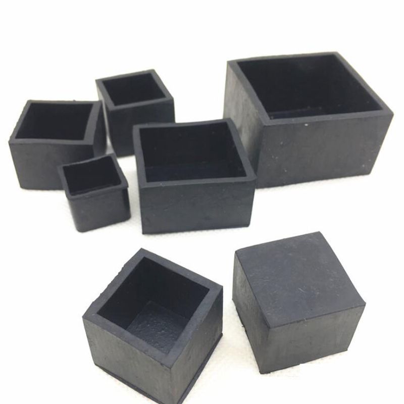 4pcs Black Plastic Rubber End Caps Square Leg Feet Pipe Tube Cap Insert Plugs Bungs For Furniture Table Chair Floor Protector