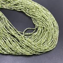 2mm 3mm 4mm facettes vert Zircon cristal perles rondes pierre gemme naturelle perles en vrac pour la fabrication de bijoux collier à faire soi-même Bracelet