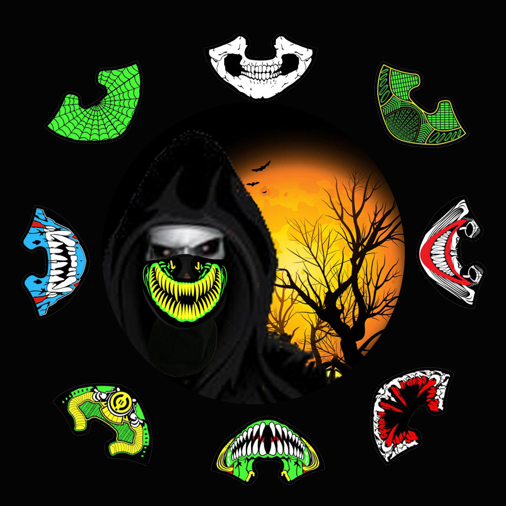 LED Masks Clothing Big Terror Masks Cold Light Helmet Fire Festival Party Glowing Dance Steady Voice activated Music Party Mask in Glow Party Supplies from Home Garden