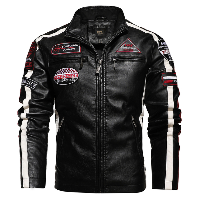 Mens Vintage Motorcycle Jacket 2020 Men Fashion New Biker Leather Jacket Male Embroidery Bomber Coat Winter Fleece Pu Overcoat 4