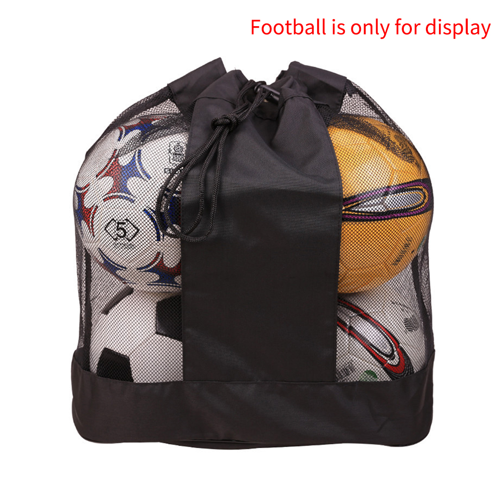 Drawstring Adjustable Strap Wear Resistant Single Shoulder Large Capacity Basketball Sack Outdoor Mesh Ball Bag Oxford Cloth