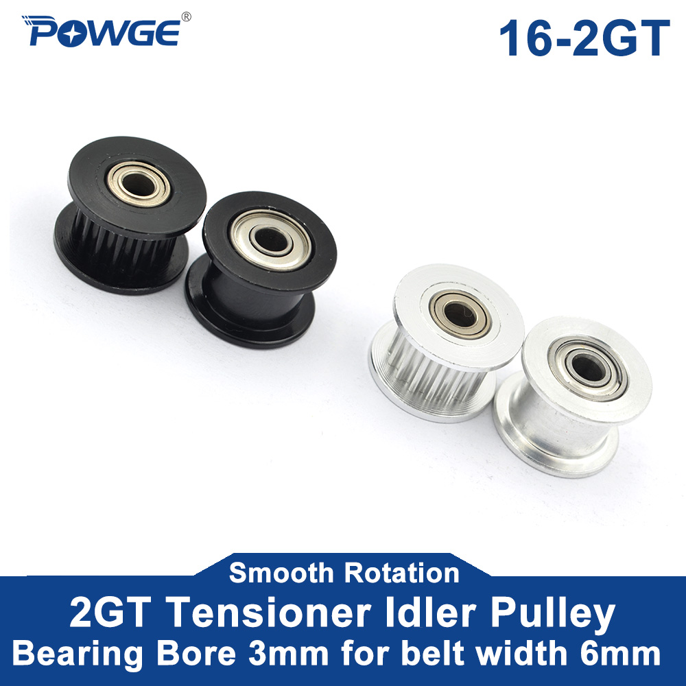 POWGE 2GT 2M 16 Teeth synchronous Idler Pulley Bore 3mm with Bearing for Width 6MM GT2 Timing belt Passive Wheel 16T 16teeth(China)