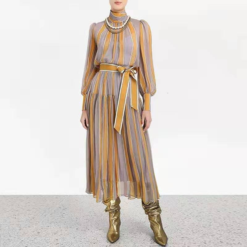 Australian Runway Dress Designer 2019 High Quality Autumn Women Hit Color Yellow Striped Lace Up Bow Maxi Long Shirt Dress Party Dresses Aliexpress