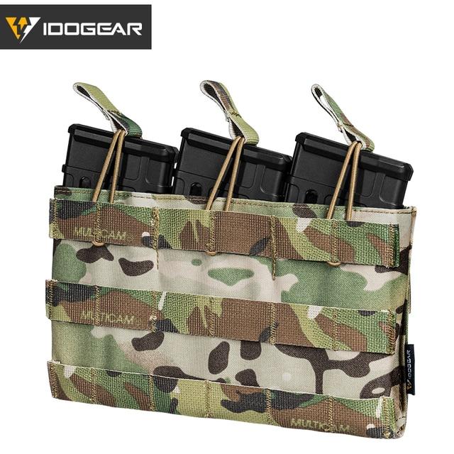 IDOGEAR Bolsa de Triple revista, 5,56 Mag, bolsa abierta superior, Airsoft, equipo militar, juego de guerra, bolsas tácticas para revistas, 3526