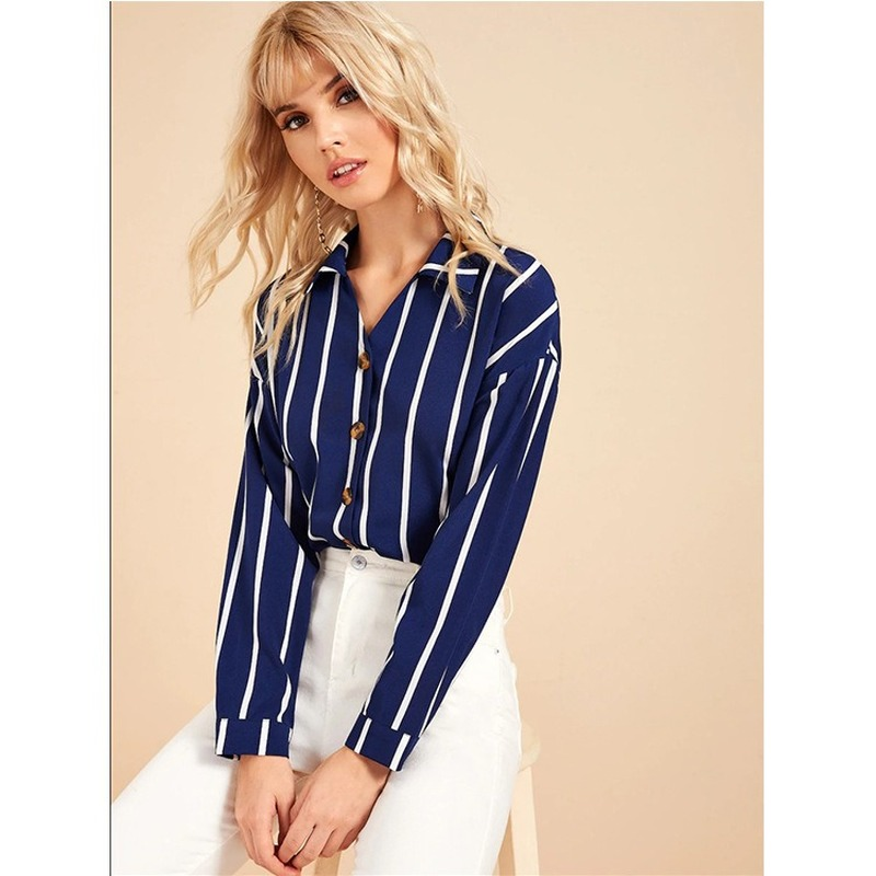 European and American fashion trends Blouses OL Commuter Stripe Lapel Single Breasted Long Sleeve Blouse womens tops