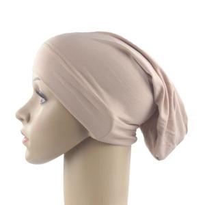 Image 1 - Muslim Women Girls Scarf Cap Cotton Breathable Hat Womens Turban Elastic Cloth Head Cap Hat Ladies Hair Accessories Wholesale