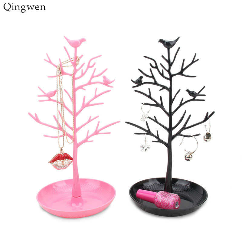 Qingwen Fashion 5 Color Plastic Earring Necklace Bracelet Display Tree for Jewelry Display Stand Holder for Women CE0866/w