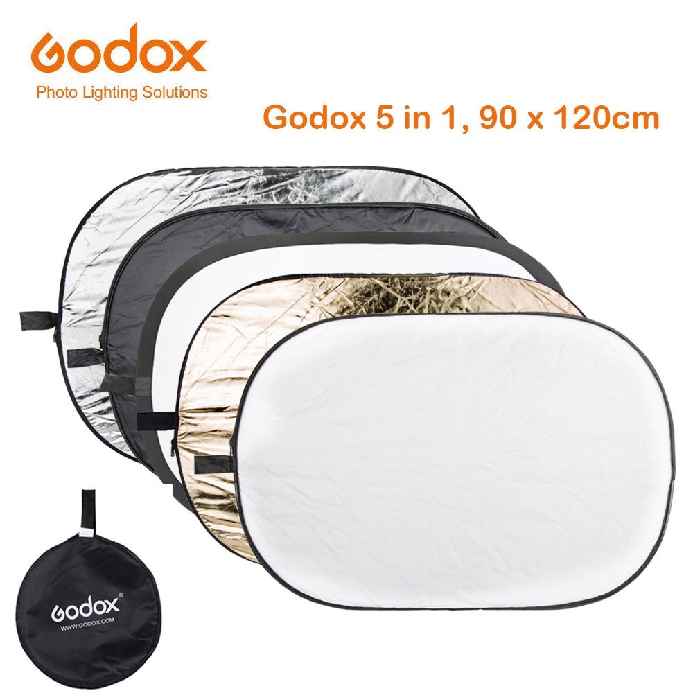 GODOX <font><b>90</b></font>*120cm 5 in 1 Background Board Round Rectangle <font><b>Reflector</b></font> Collapsible Lighting Diffuser Disc Black Silver Gold White image