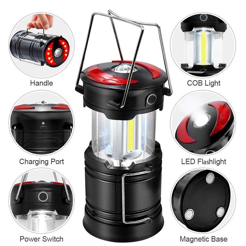 Lanterne de Camp de LED Rechargeable Super lumineux 4 Modes résistant à l'eau lumière extérieure Portable lampe de Camping de secours lampes de poche