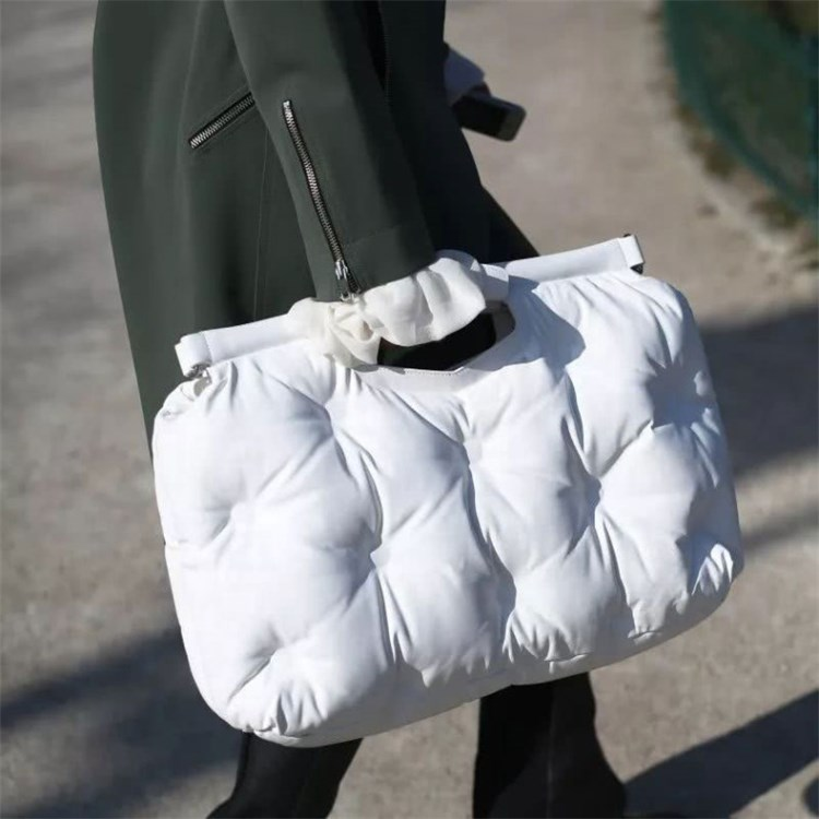 High-quality Women Tote Bag Space Cotton Handbags Lady Winter Autumn Casual Crossbody Bag Down Feather Bale Top-handle Bag Femme