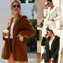 2019 Autumn Winter New Women Fuzzy Long Coat Sweater Long Cardigan Plush Coat Open Front Female Tops White Winter Clothes pearl beading open front sweater coat