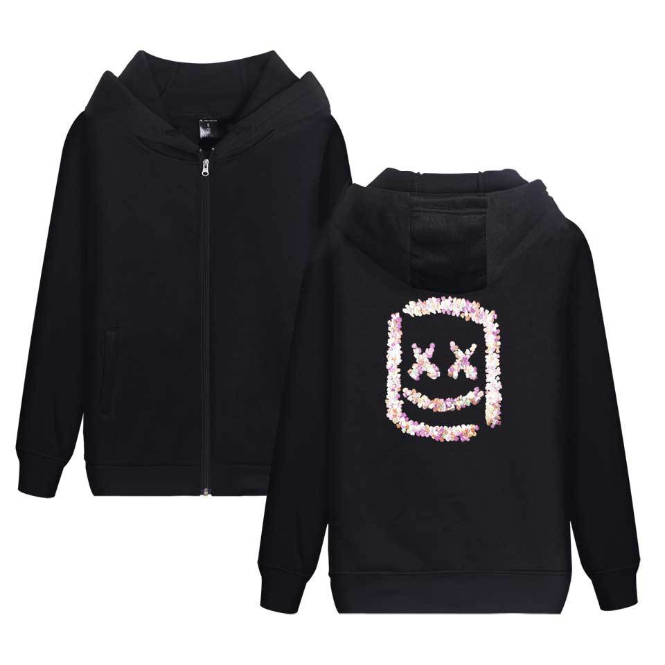 2019 New Style Trend Marshmello Cotton Candy Smiley Wearing Drum DJ Hooded Zipper Hoodie