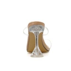 Image 4 - Kcenid été nouveau PVC gelée pantoufles femmes chaussures à bout ouvert sexy talons hauts cristal femmes transparent talon sandales diapositives pompes