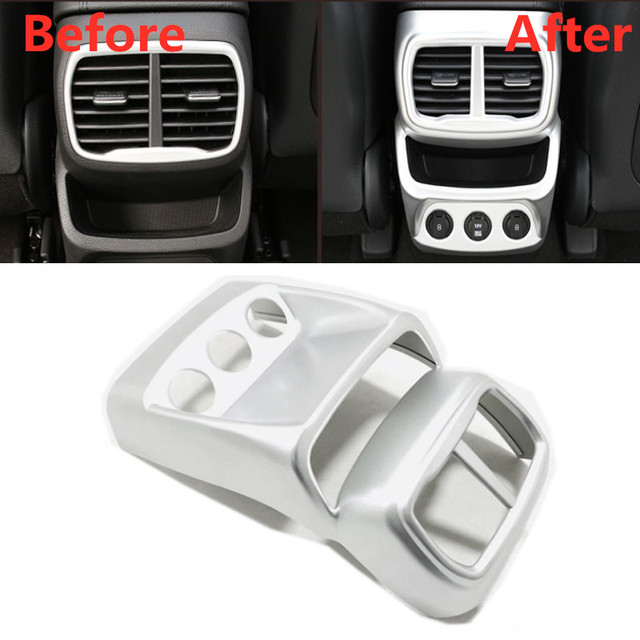 For Hyundai Santa Fe 2019 2020 Car Rear A/C Air Outlet Vent Cover Frame Sticker Car Molding Accessory 3