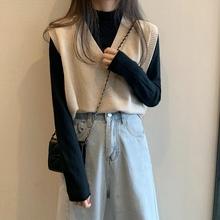 2020 wiosna nowy koreański kobiety kamizelka styl Preppy Casual V-neck dzianiny kamizelki odzież damska wysokiej jakości tanie tanio SexeMara COTTON NONE Stałe REGULAR Na co dzień Brak