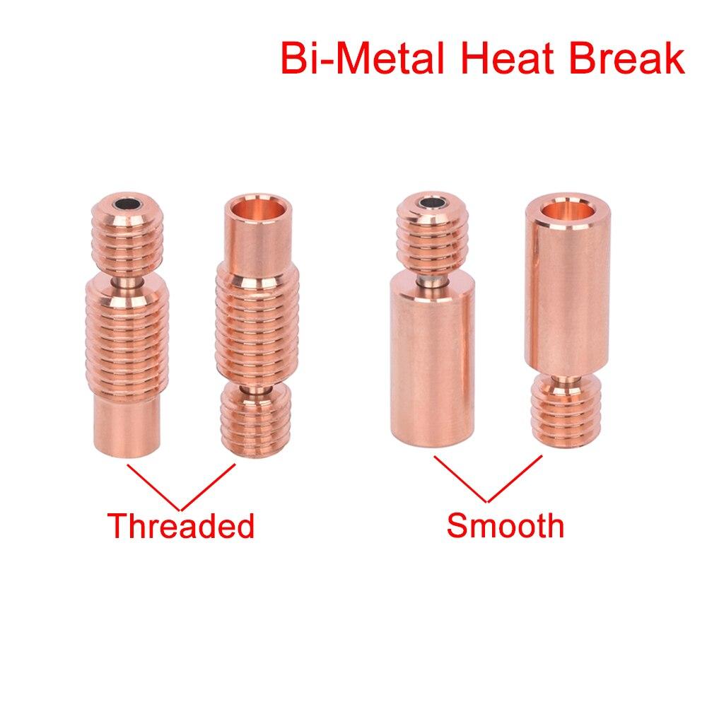 Bi-Metal HeatBreak Bimetal Heat Break V6 Throat For E3D V6 Hotend Heater Block PT100 Filament For I3 MK3 3D Printer Parts