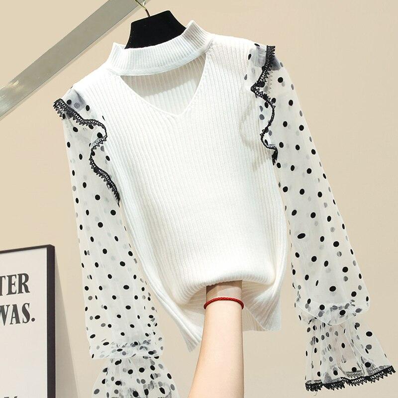 Dot Mesh Sleeve Panel Sweater Women's 2020 New Spring Lantern Sleeve Long Sleeve Halter V Neck White Sweater Shirt Bodycon Tops