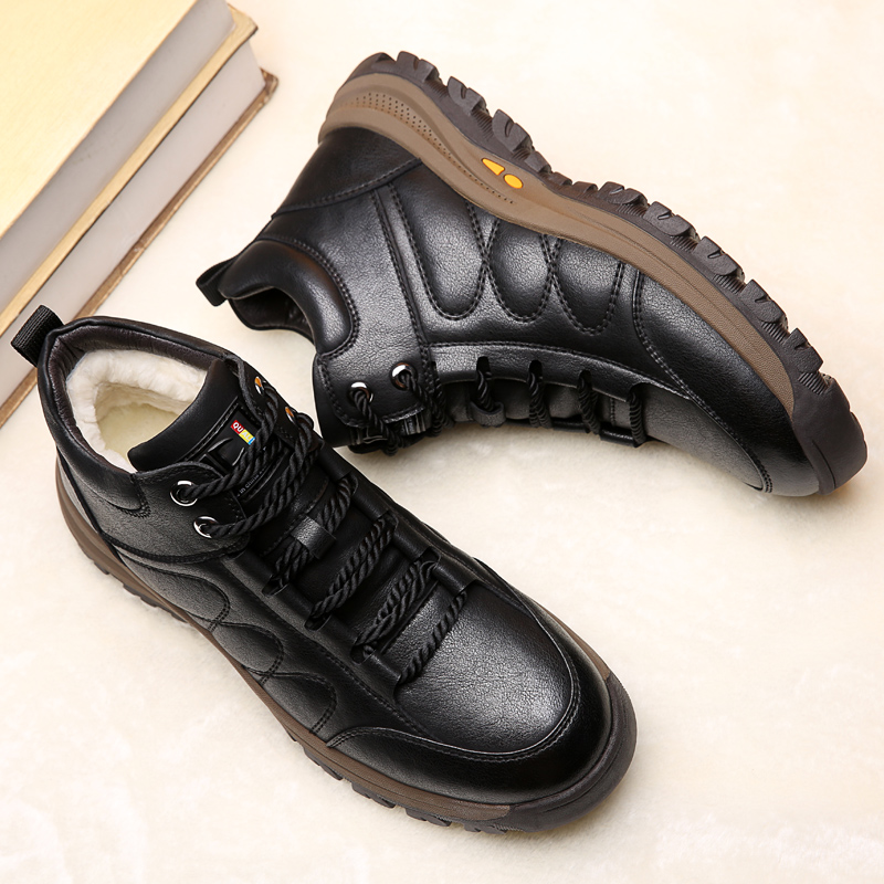 Misalwa Men Adult Warm Snow Boots Soft Bottom Wool Winter Short Boots Outside Casual Leather Handmade