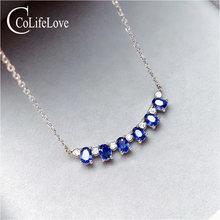 Женское классическое ожерелье из серебра 925 пробы с сапфиром